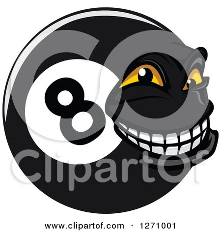 Clipart of a Grinning Eightball Character - Royalty Free Vector Illustration by Vector Tradition SM
