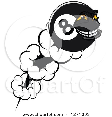 Clipart of a Flying Grinning Eightball Character - Royalty Free Vector Illustration by Vector Tradition SM