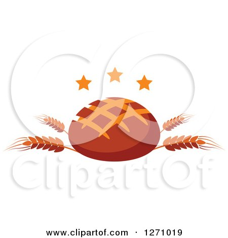 Clipart of a Dark Round Bread Loaf on Wheat Stalks with Stars - Royalty Free Vector Illustration by Vector Tradition SM