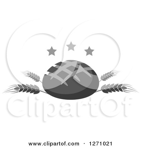 Clipart of a Grayscale Round Bread Loaf on Wheat Stalks with Stars - Royalty Free Vector Illustration by Vector Tradition SM