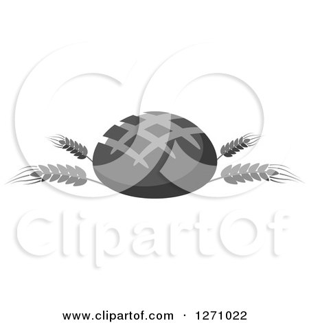 Clipart of a Grayscale Round Bread Loaf on Wheat Stalks - Royalty Free Vector Illustration by Vector Tradition SM