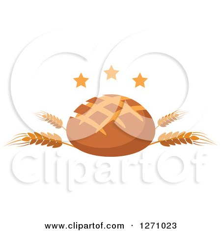 Clipart of a Round Bread Loaf on Wheat Stalks with Stars - Royalty Free Vector Illustration by Vector Tradition SM