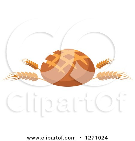Round Bread Loaf on Wheat Stalks Posters, Art Prints