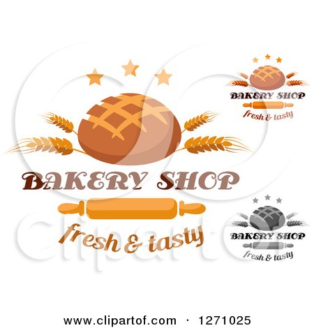 Clipart of Round Bread Loaves with Wheat Stalks, Stars, Text and Rolling Pins - Royalty Free Vector Illustration by Vector Tradition SM