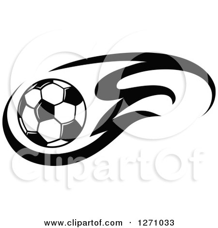 Clipart of a Black and White Soccer Ball and Flames - Royalty Free Vector Illustration by Vector Tradition SM