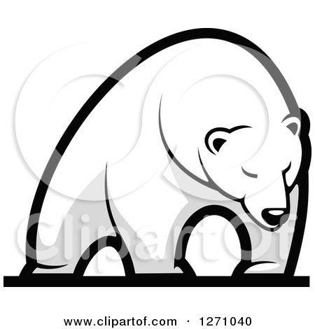 Clipart of a Grayscale Standing Polar Bear - Royalty Free Vector Illustration by Vector Tradition SM