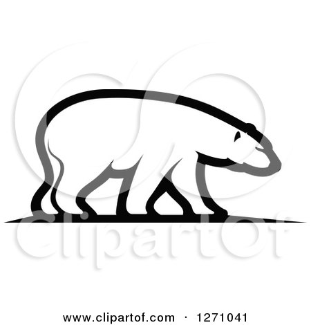 Clipart of a Black and White Walking Polar Bear in Profile - Royalty Free Vector Illustration by Vector Tradition SM