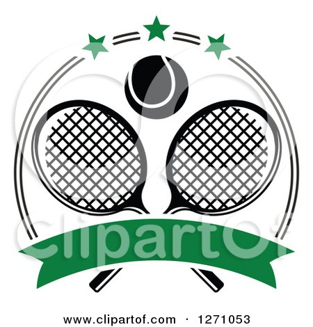 Clipart of a Black and White Tennis Ball over Crossed Rackets in a Circle with Stars and a Blank Green Banner - Royalty Free Vector Illustration by Vector Tradition SM