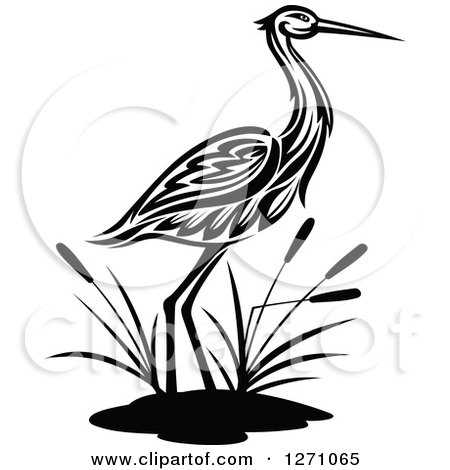 Clipart of a Black and White Wading Tribal Crane Bird with Cattails - Royalty Free Vector Illustration by Vector Tradition SM