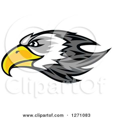 Clipart of a Gray and White Bald Eagle Head with a Yellow Beak, in Profile - Royalty Free Vector Illustration by Vector Tradition SM