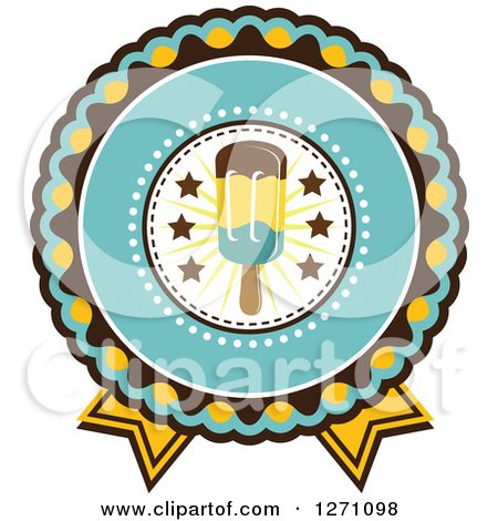 Clipart of a Yellow, Turquoise and Brown Rosette Popsicle Design - Royalty Free Vector Illustration by Vector Tradition SM