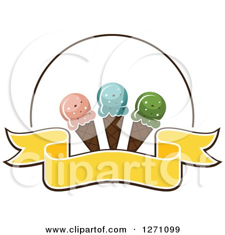Clipart of a Blank Yellow Banner and Circle with Waffle Ice Cream Cones - Royalty Free Vector Illustration by Vector Tradition SM