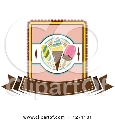 Clipart of a Popsicle and Ice Cream Cone Design with a Blank Brown Banner - Royalty Free Vector Illustration by Vector Tradition SM