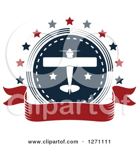Clipart of a Red White and Blue Private Airplane Circle with Stars and a Blank Banner - Royalty Free Vector Illustration by Vector Tradition SM