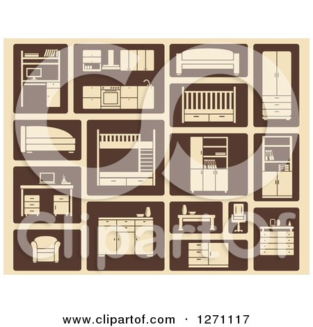 Clipart of Tan and Brown Furniture Icons - Royalty Free Vector Illustration by Vector Tradition SM