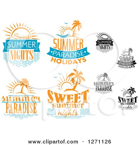 Clipart of Sun and Island Summer Designs - Royalty Free Vector Illustration by Vector Tradition SM
