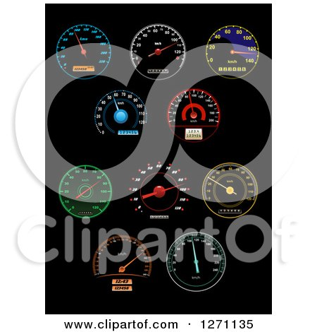 Clipart of Colorful Illuminated Speedometers on Black - Royalty Free Vector Illustration by Vector Tradition SM