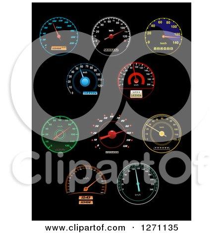 Colorful Illuminated Speedometers on Black Posters, Art Prints
