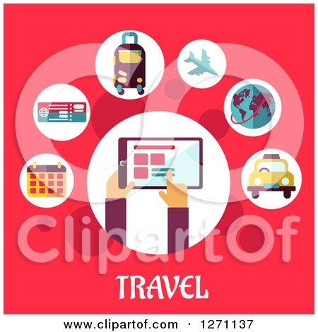 Clipart of Travel Text Under a Tablet and Icons on Pink - Royalty Free Vector Illustration by Vector Tradition SM