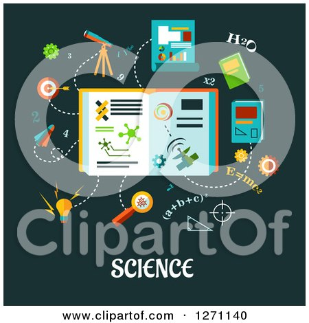 Clipart of Science Text Under Formulas and Symbols on Green - Royalty Free Vector Illustration by Vector Tradition SM