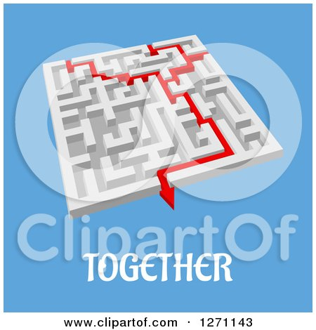 Clipart of a 3d Maze with Red Lines Merging and Completing the Task, over Blue with Together Text - Royalty Free Vector Illustration by Vector Tradition SM