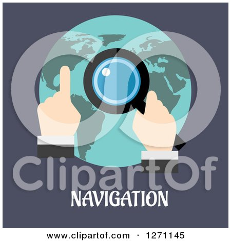 Clipart of Navigation Text Under a Man Using a Magnifying Glass over a Globe - Royalty Free Vector Illustration by Vector Tradition SM