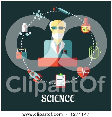 Clipart of Science Text Under a Man in a Circle of Icons on Green - Royalty Free Vector Illustration by Vector Tradition SM