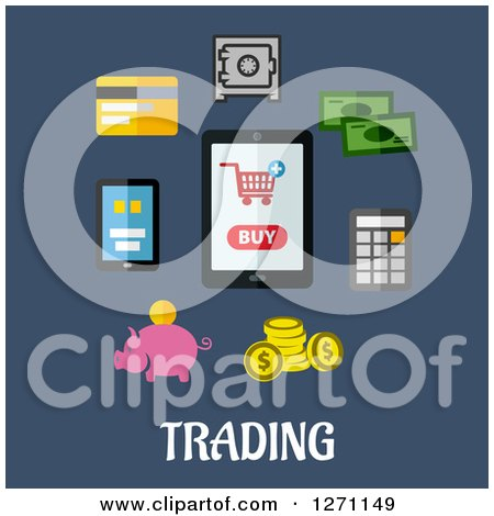Clipart of Trading Text Under Gadgets and Financial Icons on Blue - Royalty Free Vector Illustration by Vector Tradition SM