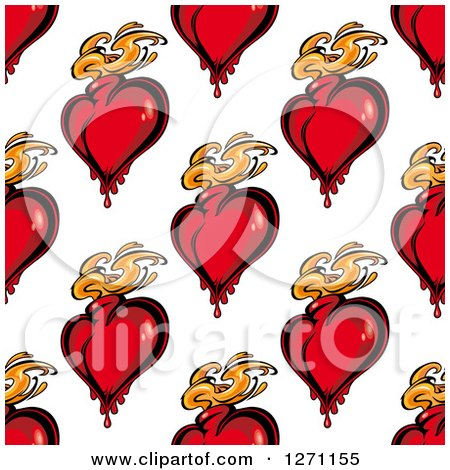 Clipart of a Seamless Background Pattern of Red Flaming Hearts - Royalty Free Vector Illustration by Vector Tradition SM