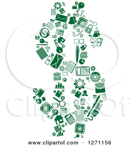 Clipart of Green Finance Icons Forming a Dollar Currency Symbol - Royalty Free Vector Illustration by Vector Tradition SM