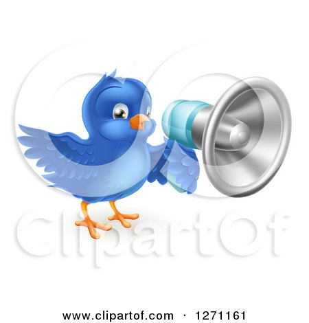 Clipart of a Happy Blue Bird Announcing with a Megaphone - Royalty Free Vector Illustration by AtStockIllustration