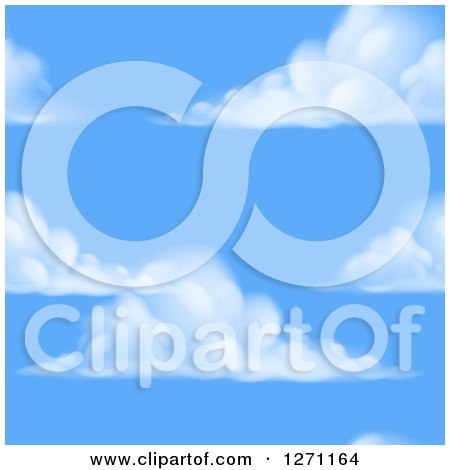 Clipart of a Blue Sky and Puffy Cloud Seamless Background Pattern - Royalty Free Vector Illustration by AtStockIllustration