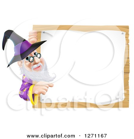 Clipart of a Happy Senior Wizard Pointing Around a Posted Notice Sign on Wood - Royalty Free Vector Illustration by AtStockIllustration