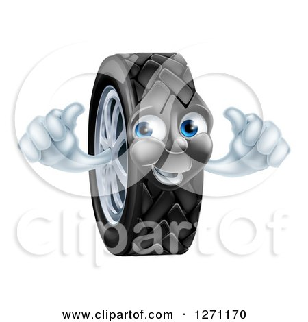 Clipart of a Happy Tire Character Holding Two Thumbs up - Royalty Free Vector Illustration by AtStockIllustration