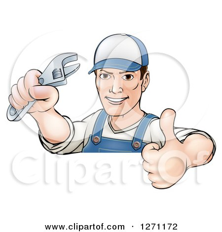 Cartoon Brunette Caucasian Mechanic Man Holding an Adjustable Wrench and Thumb up over a Sign Posters, Art Prints