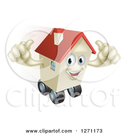 Clipart of a Happy House Character Holding Two Thumbs up and Rolling on Wheels - Royalty Free Vector Illustration by AtStockIllustration