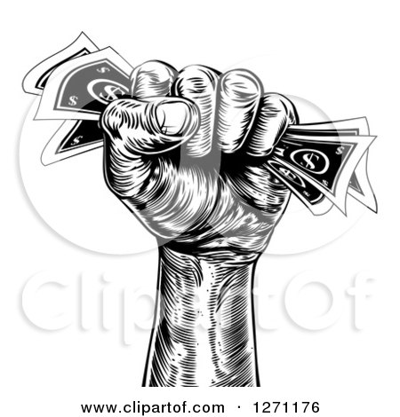 Clipart of a Hand Clenching Cash Money in a Fist - Royalty Free ...