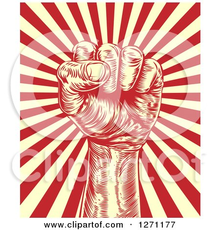 Clipart of a Engraved Revolutionary Fist over Beige and Red Rays - Royalty Free Vector Illustration by AtStockIllustration