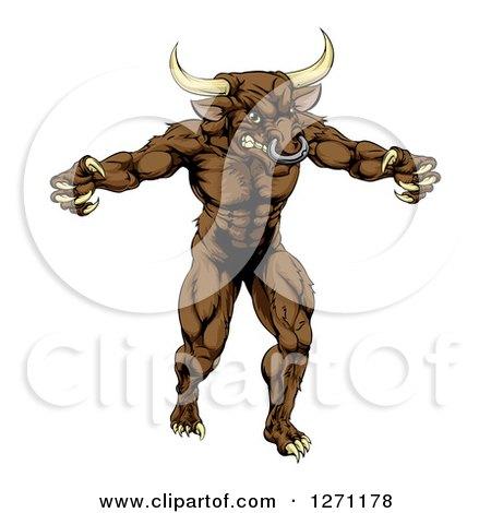 Clipart of a Snarling Brown Bull Man Minotaur Monster Mascot Attacking - Royalty Free Vector Illustration by AtStockIllustration