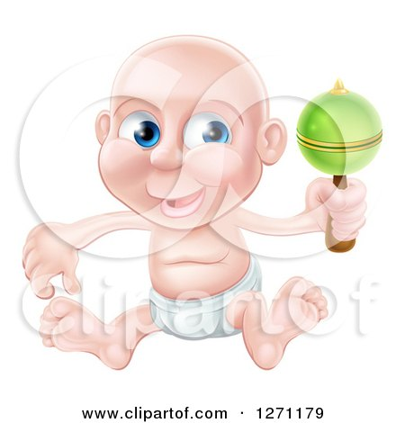 Clipart of a Bald Blue Eyed Caucasian Baby Boy Sitting in a Diaper and Shaking a Rattle - Royalty Free Vector Illustration by AtStockIllustration