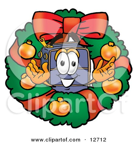 Clipart Picture of a Suitcase Cartoon Character in the Center of a Christmas Wreath by Toons4Biz