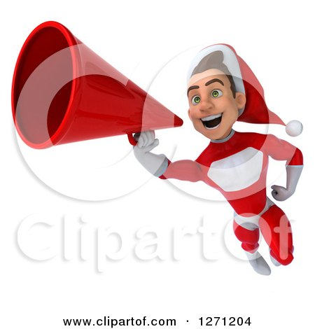 Clipart of a 3d Young Super Hero Santa Flying and Announcing with a Megaphone - Royalty Free Illustration by Julos