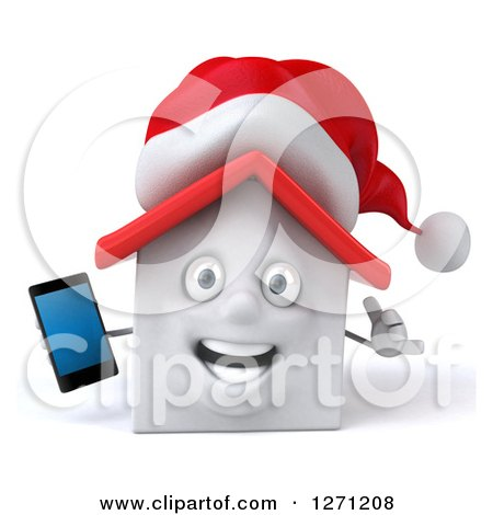 Clipart of a 3d Happy White Christmas House Character Holding a Smart Phone and Gesturing Call Me - Royalty Free Illustration by Julos