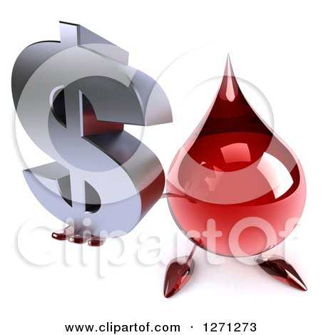 Clipart of a 3d Hot Water or Blood Drop Mascot Holding up a Dollar Symbol - Royalty Free Illustration by Julos