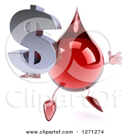 Clipart of a 3d Hot Water or Blood Drop Mascot Facing Slightly Right, Jumping and Holding up a Dollar Symbol - Royalty Free Illustration by Julos