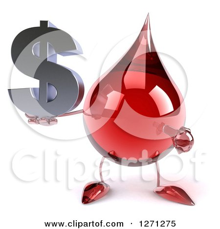 Clipart of a 3d Hot Water or Blood Drop Mascot Holding and Pointing to a Dollar Symbol - Royalty Free Illustration by Julos