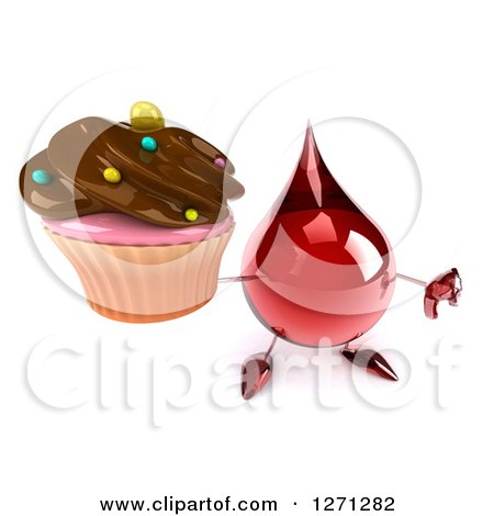 Clipart of a 3d Hot Water or Blood Drop Mascot Holding up a Chocolate Frosted Cupcake and Thumb down - Royalty Free Illustration by Julos