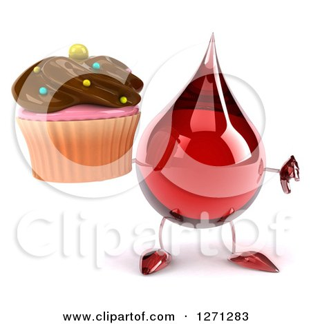 Clipart of a 3d Hot Water or Blood Drop Mascot Holding a Chocolate Frosted Cupcake and Thumb down - Royalty Free Illustration by Julos