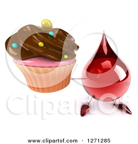 Clipart of a 3d Hot Water or Blood Drop Mascot Holding up a Chocolate Frosted Cupcake - Royalty Free Illustration by Julos