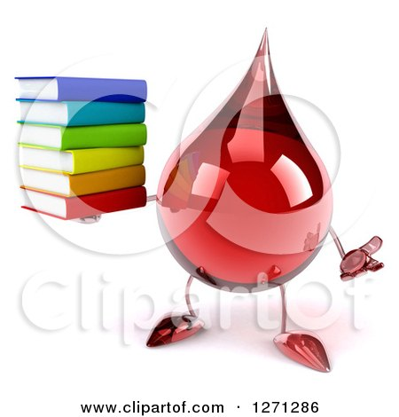 Clipart of a 3d Hot Water or Blood Drop Mascot Shrugging and Holding a Stack of Books - Royalty Free Illustration by Julos